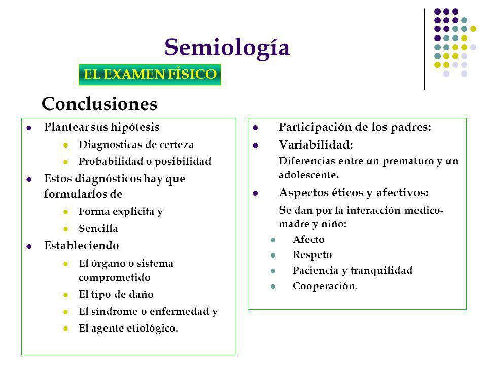 Semiología Conclusiones EL EXAMEN FÍSICO Participación de los padres: