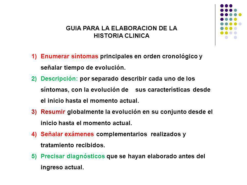GUIA PARA LA ELABORACION DE LA HISTORIA CLINICA