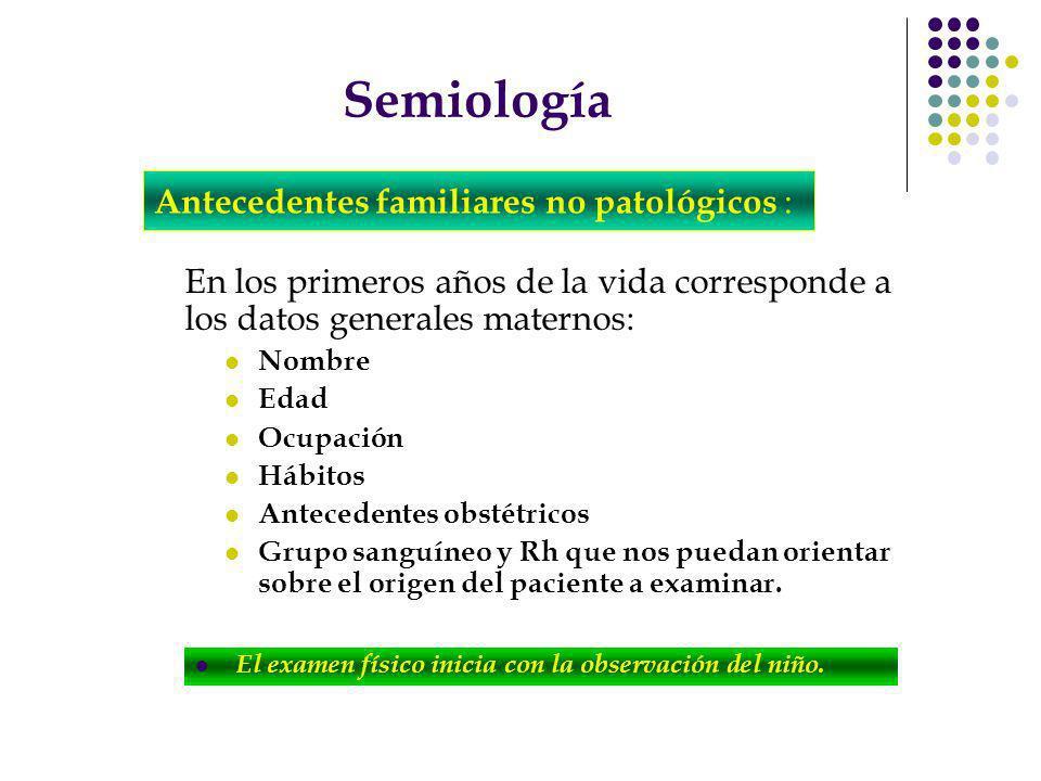 Semiología Antecedentes familiares no patológicos :