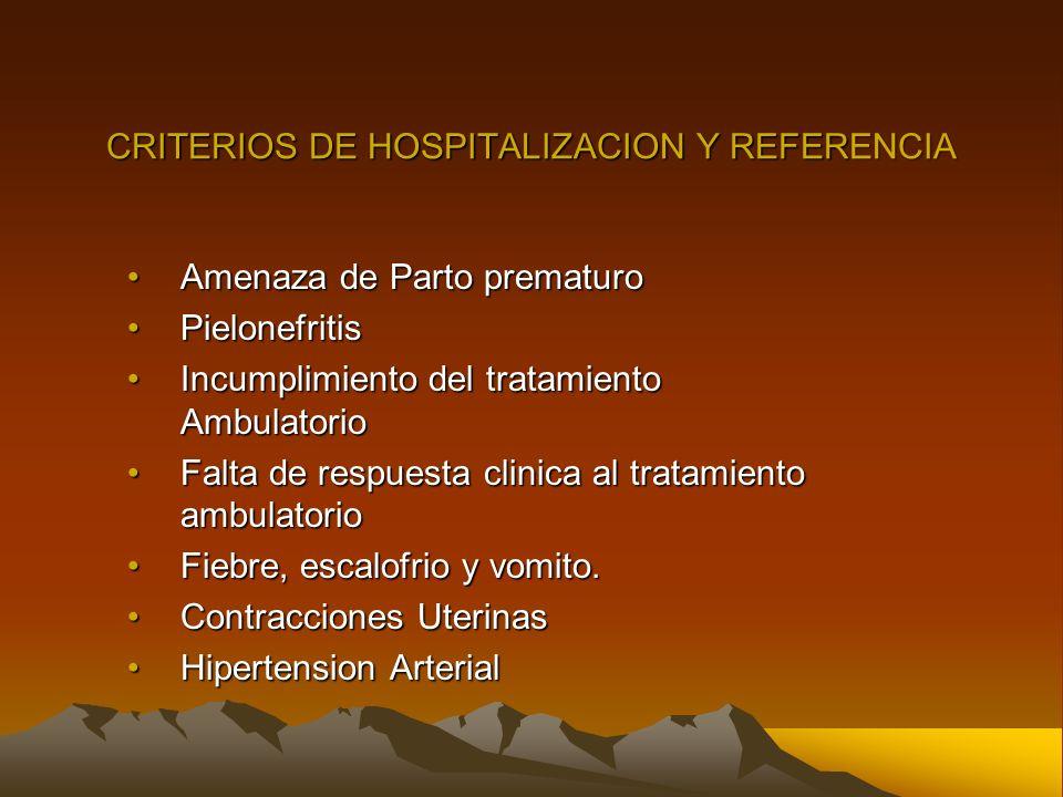 CRITERIOS DE HOSPITALIZACION Y REFERENCIA