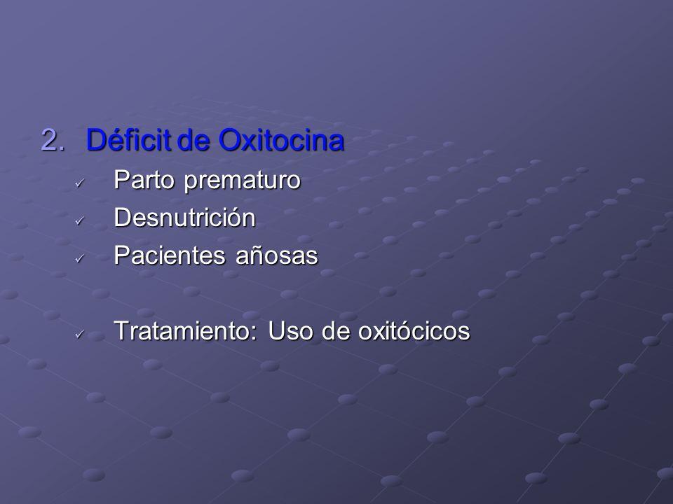 Déficit de Oxitocina Parto prematuro Desnutrición Pacientes añosas