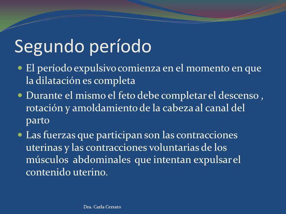 Segundo período El período expulsivo comienza en el momento en que la dilatación es completa.