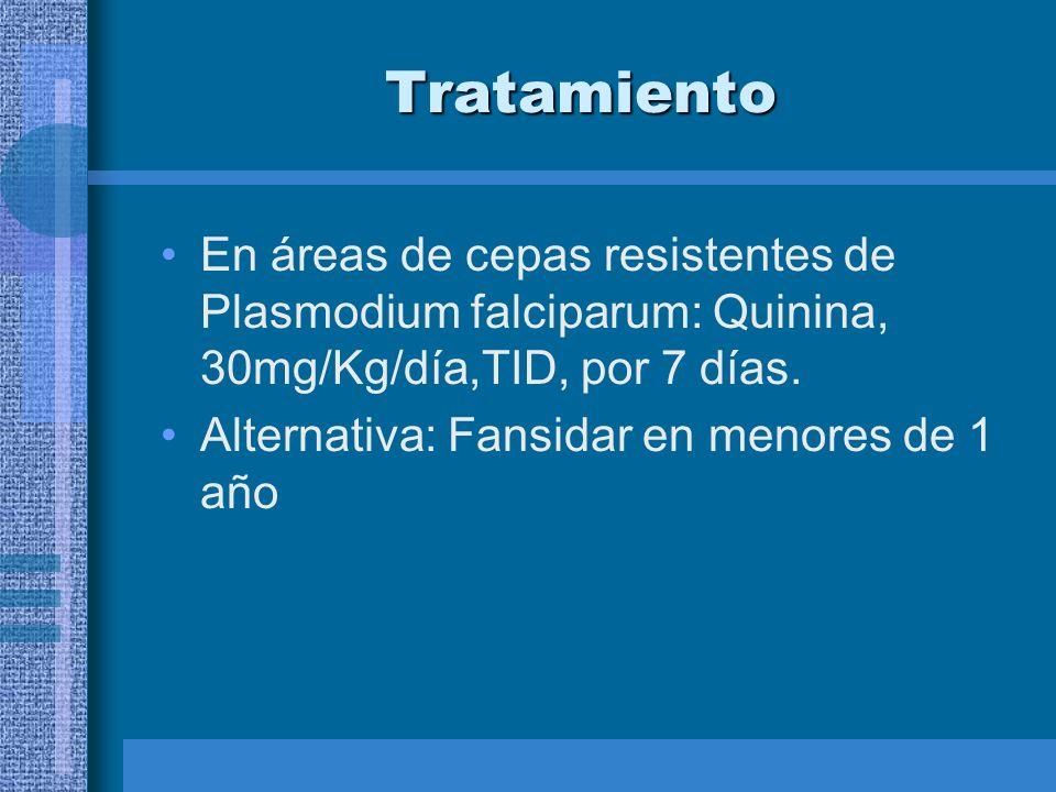 Tratamiento En áreas de cepas resistentes de Plasmodium falciparum: Quinina, 30mg/Kg/día,TID, por 7 días.