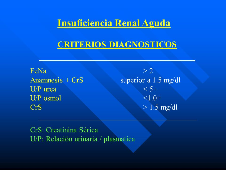 Insuficiencia Renal Aguda CRITERIOS DIAGNOSTICOS