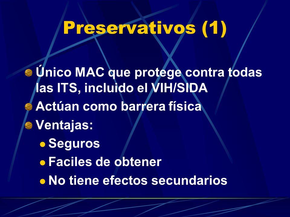 Preservativos (1) Único MAC que protege contra todas las ITS, incluido el VIH/SIDA. Actúan como barrera física.