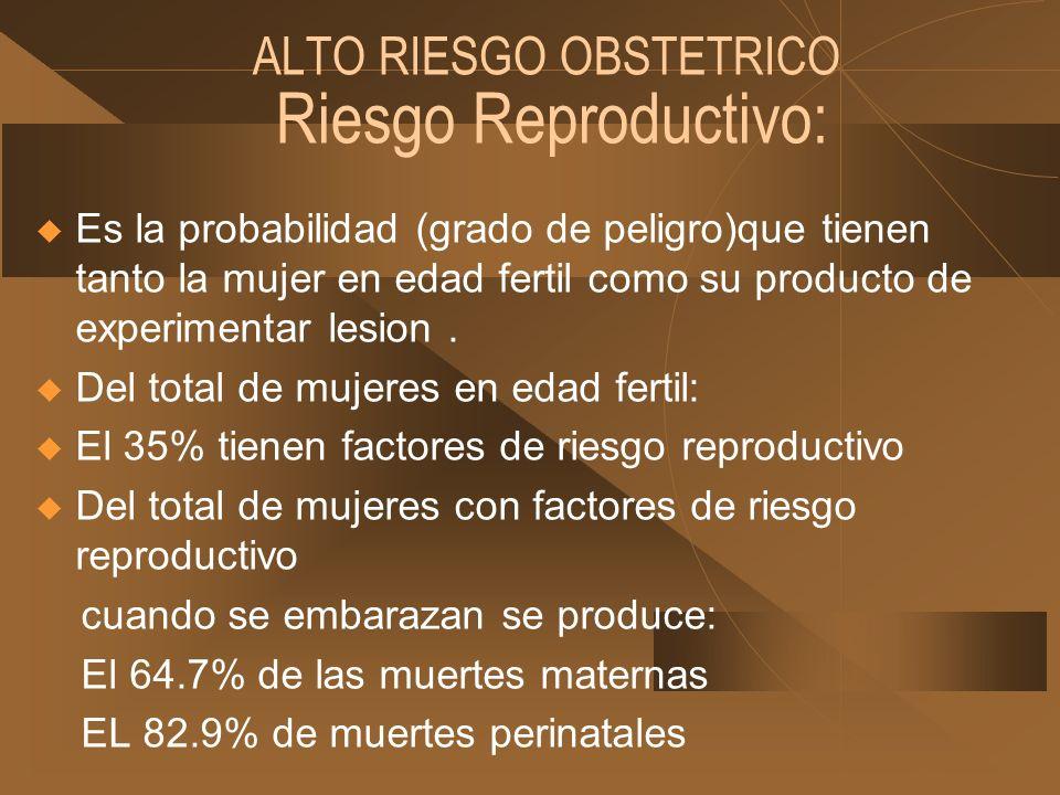ALTO RIESGO OBSTETRICO Riesgo Reproductivo: