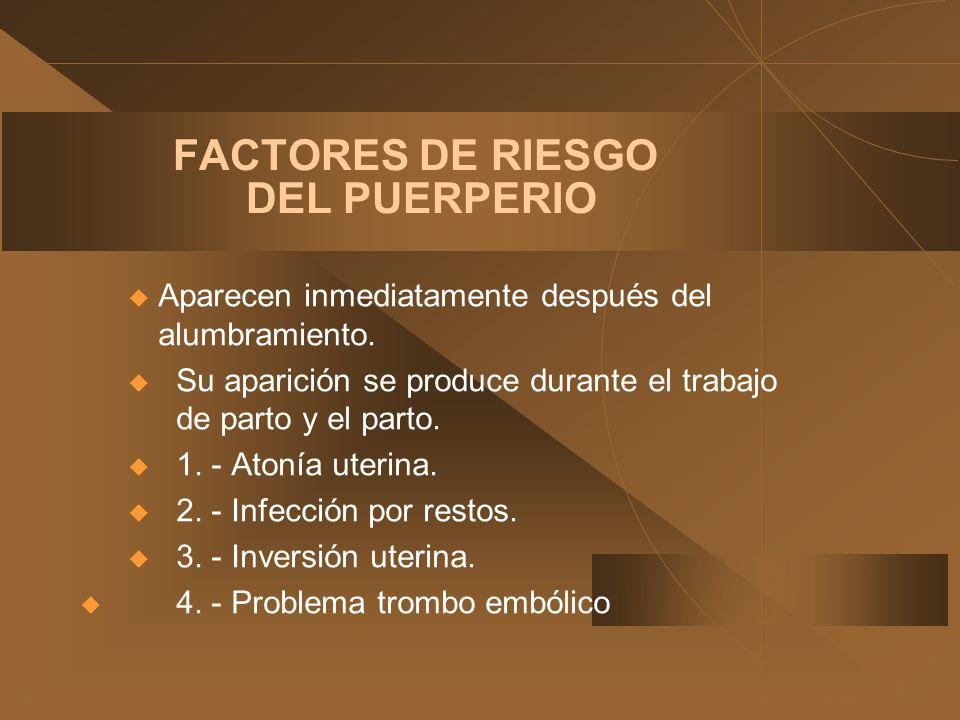 FACTORES DE RIESGO DEL PUERPERIO