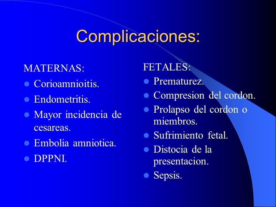 Complicaciones: MATERNAS: Corioamnioitis. Endometritis.