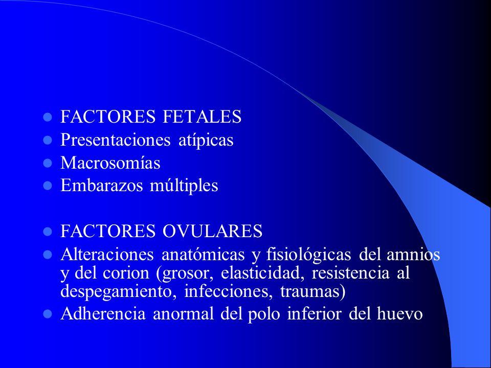 FACTORES FETALES Presentaciones atípicas. Macrosomías. Embarazos múltiples. FACTORES OVULARES.