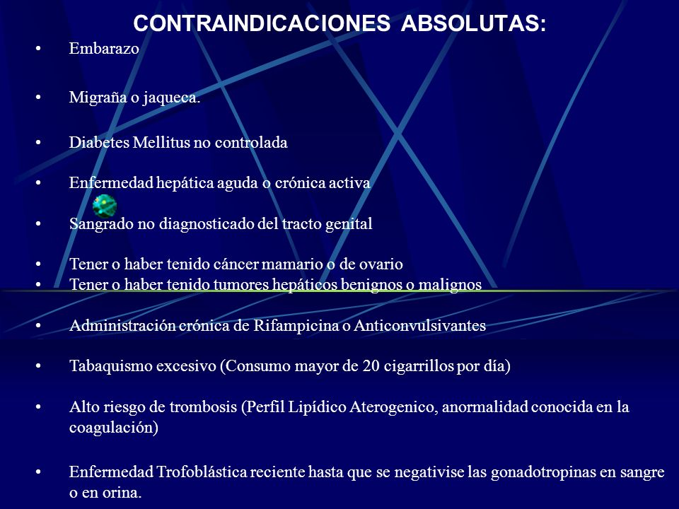 CONTRAINDICACIONES ABSOLUTAS: