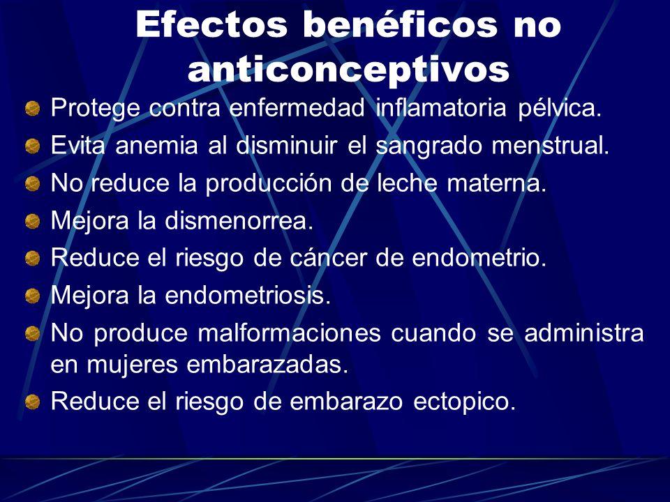 Efectos benéficos no anticonceptivos