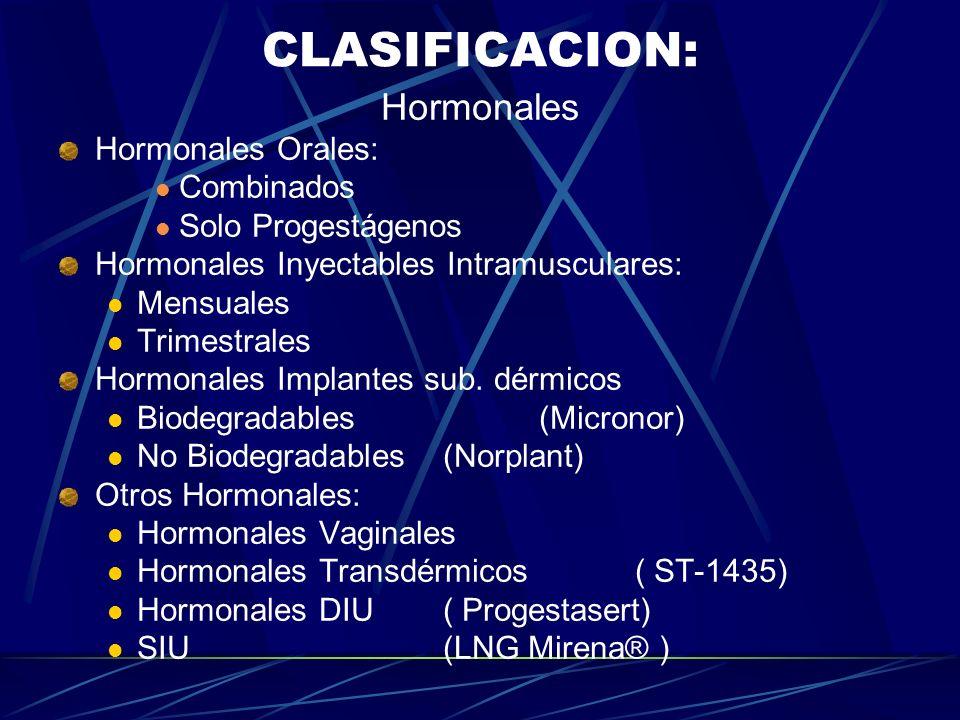 CLASIFICACION: Hormonales Hormonales Orales: Combinados