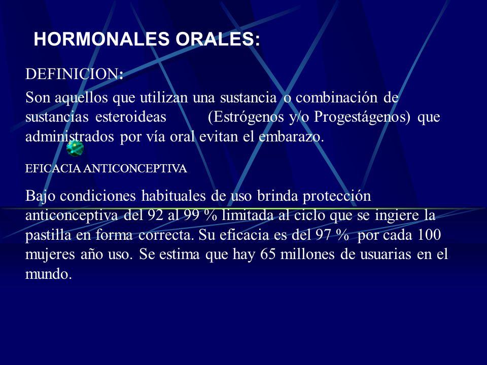 HORMONALES ORALES: DEFINICION: