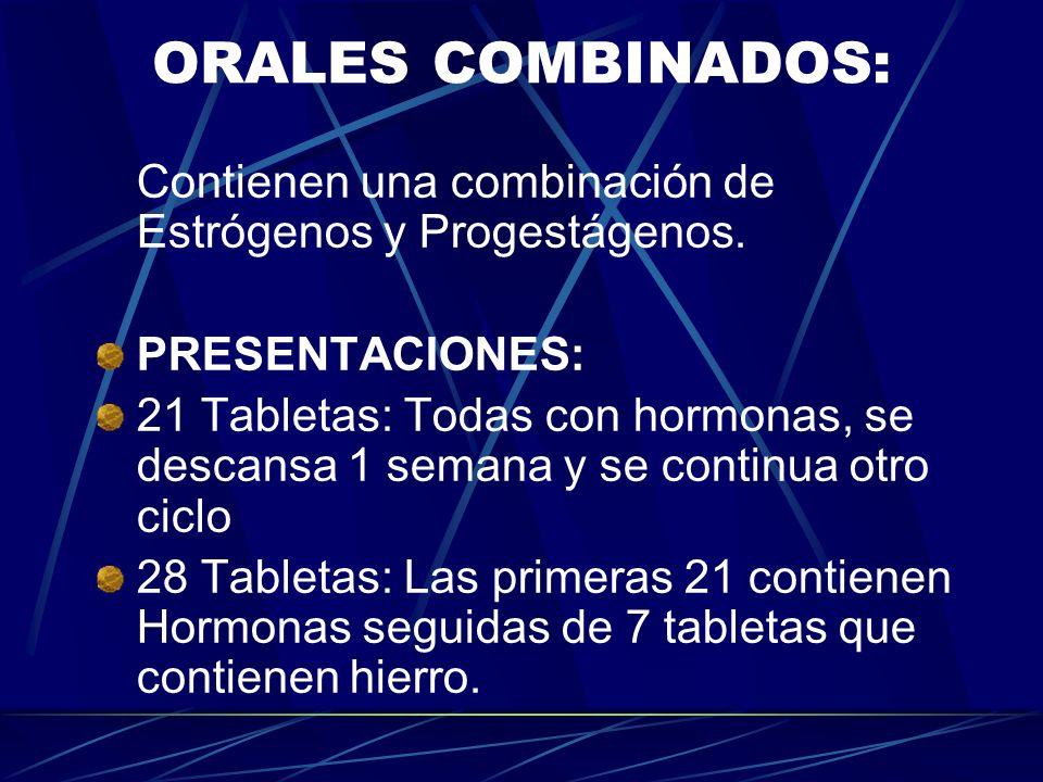 ORALES COMBINADOS: Contienen una combinación de Estrógenos y Progestágenos. PRESENTACIONES: