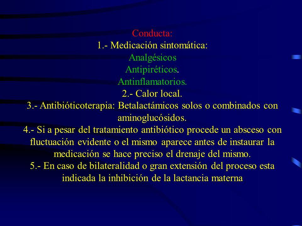 Conducta: 1. - Medicación sintomática: Analgésicos Antipiréticos