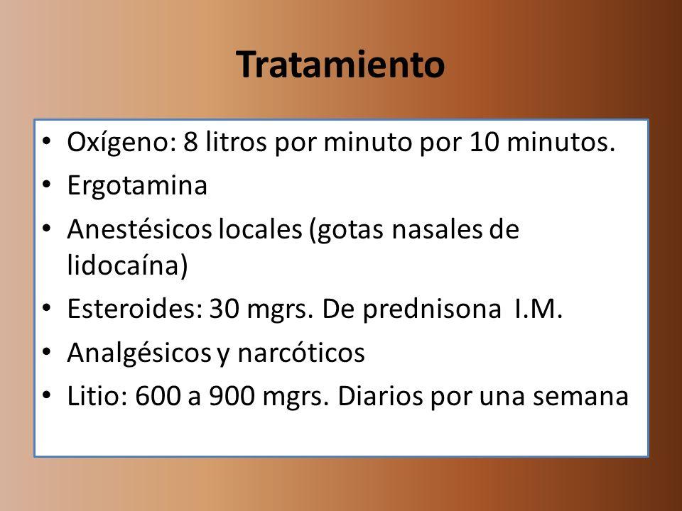 Tratamiento Oxígeno: 8 litros por minuto por 10 minutos. Ergotamina