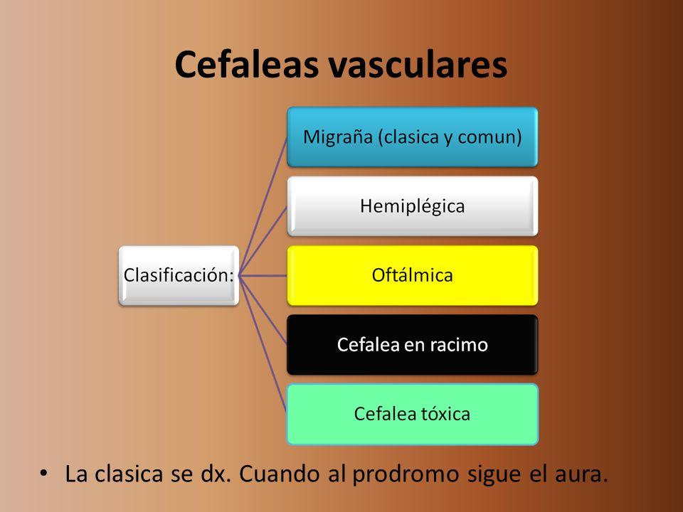 Cefaleas vasculares La clasica se dx. Cuando al prodromo sigue el aura.