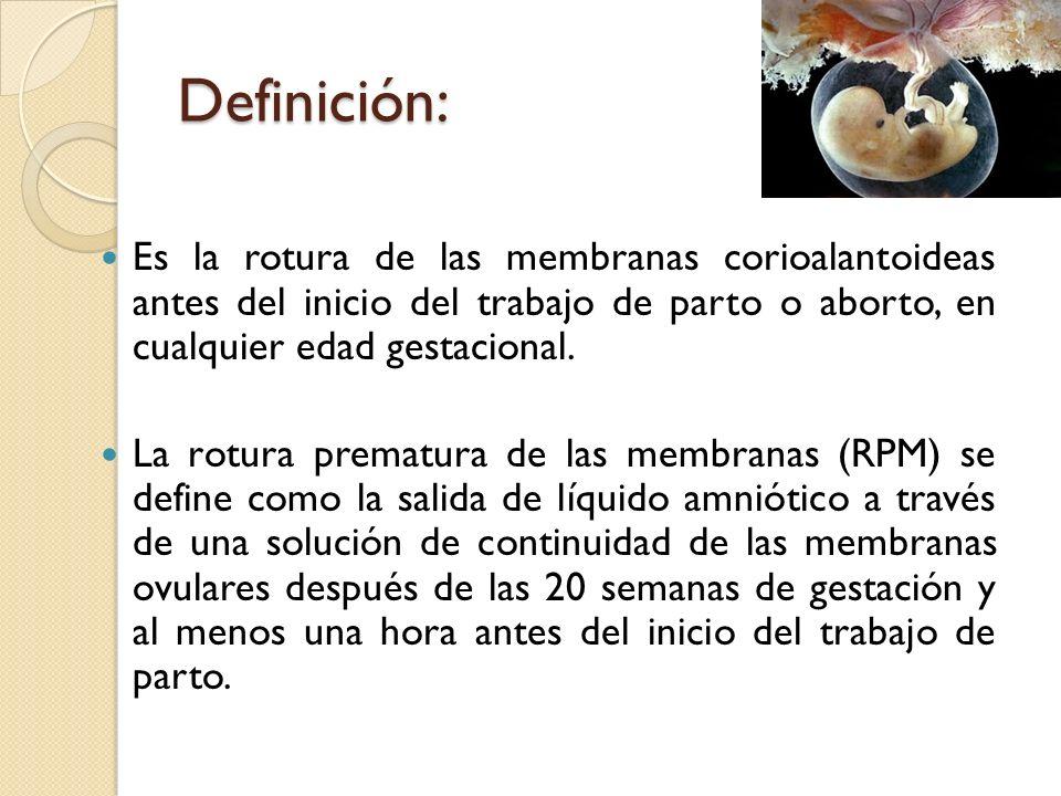 Definición:Es la rotura de las membranas corioalantoideas antes del inicio del trabajo de parto o aborto, en cualquier edad gestacional.
