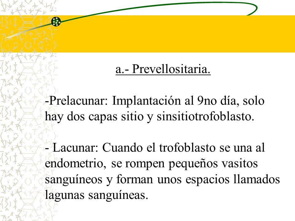 a.- Prevellositaria. Prelacunar: Implantación al 9no día, solo hay dos capas sitio y sinsitiotrofoblasto.