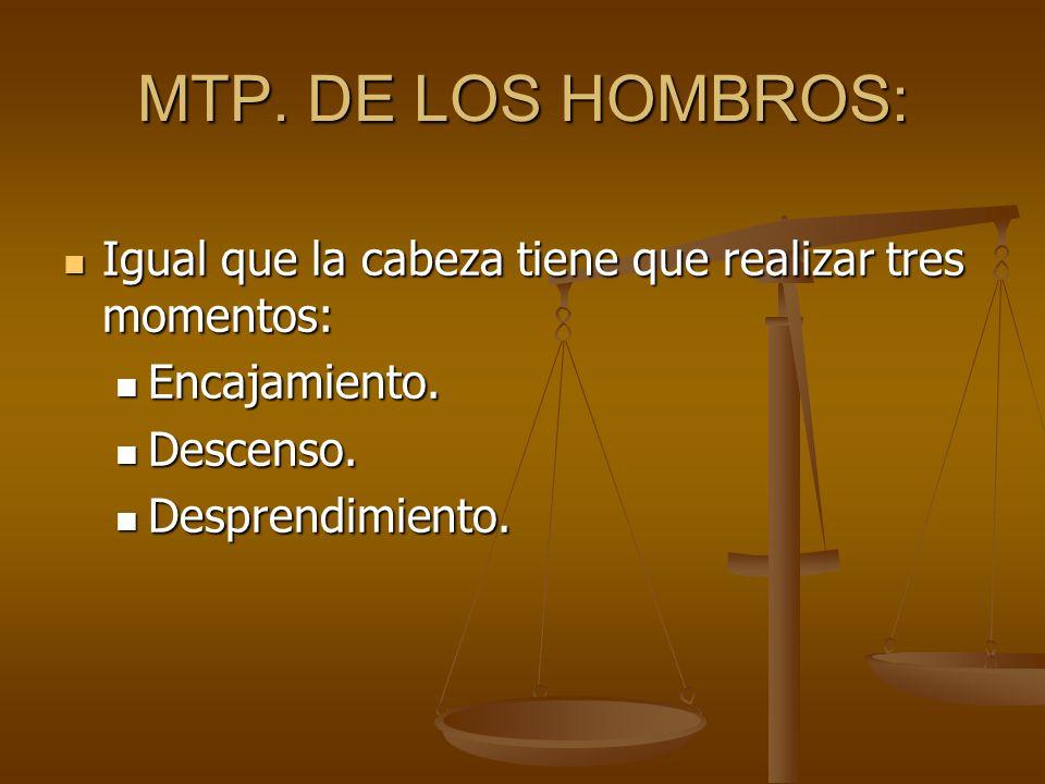 MTP. DE LOS HOMBROS: Igual que la cabeza tiene que realizar tres momentos: Encajamiento. Descenso.
