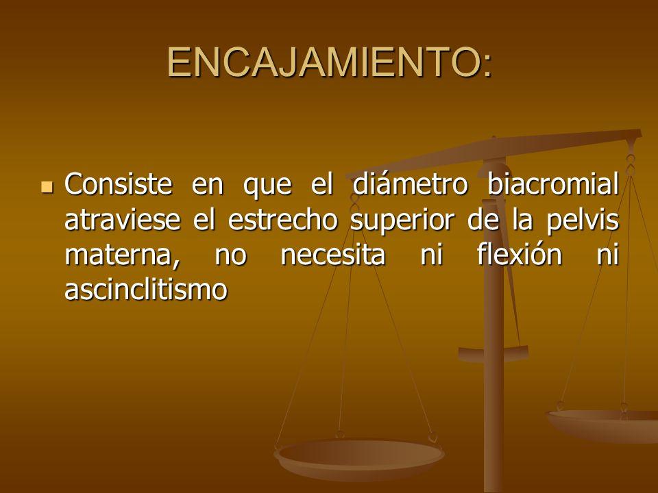 ENCAJAMIENTO: Consiste en que el diámetro biacromial atraviese el estrecho superior de la pelvis materna, no necesita ni flexión ni ascinclitismo.