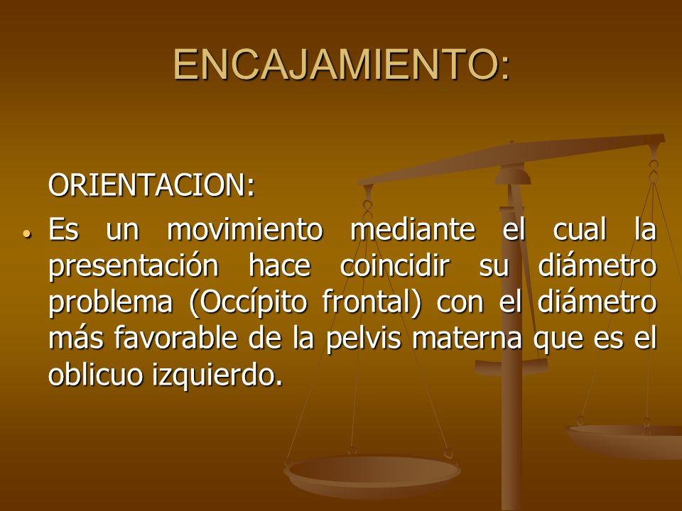ENCAJAMIENTO: ORIENTACION: