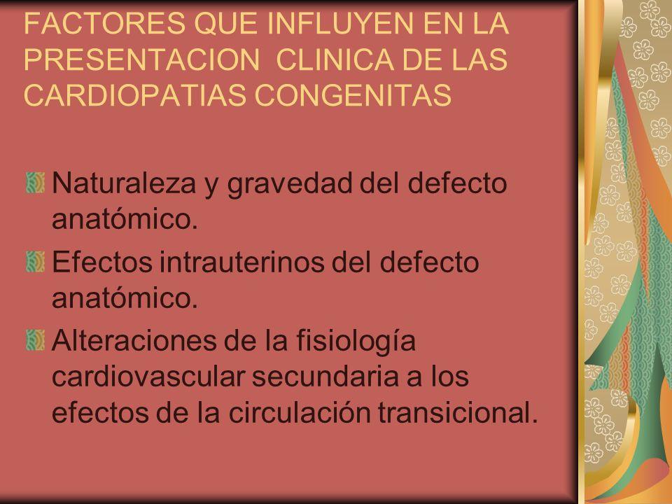 FACTORES QUE INFLUYEN EN LA PRESENTACION CLINICA DE LAS CARDIOPATIAS CONGENITAS