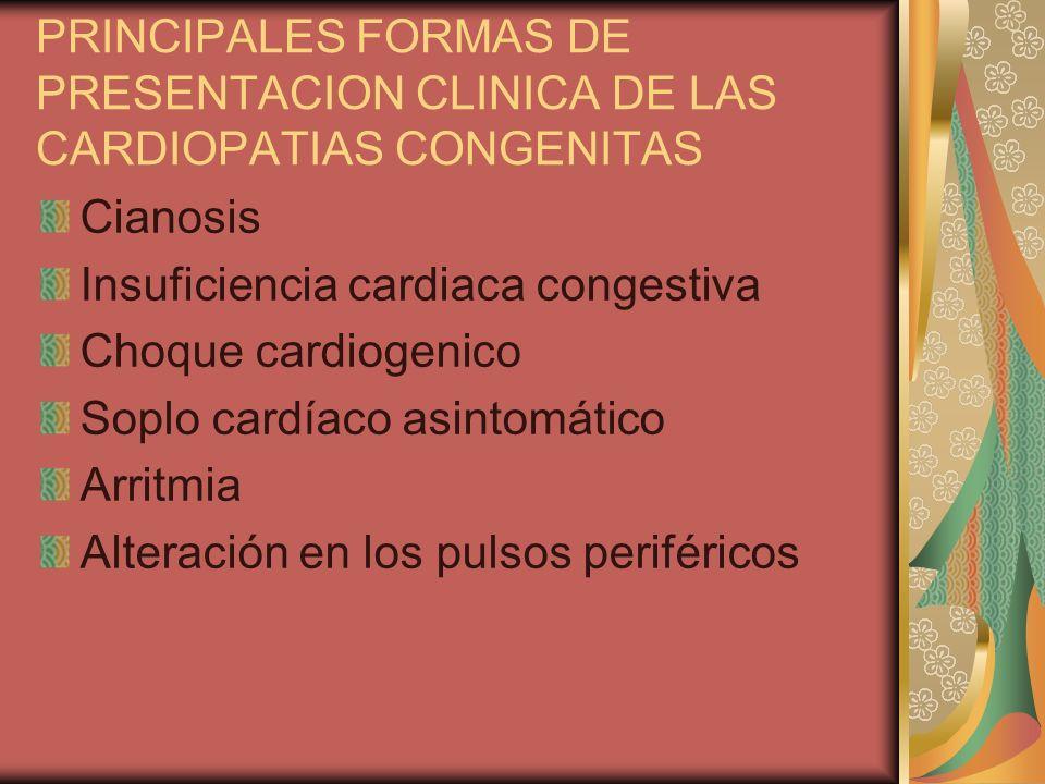 PRINCIPALES FORMAS DE PRESENTACION CLINICA DE LAS CARDIOPATIAS CONGENITAS