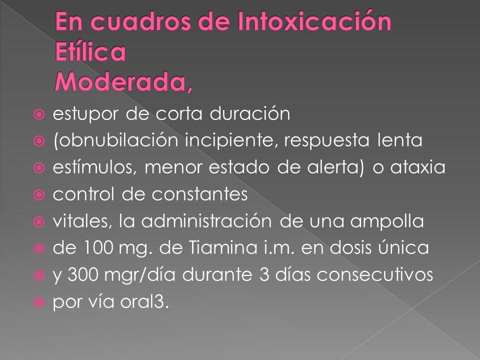 En cuadros de Intoxicación Etílica Moderada,