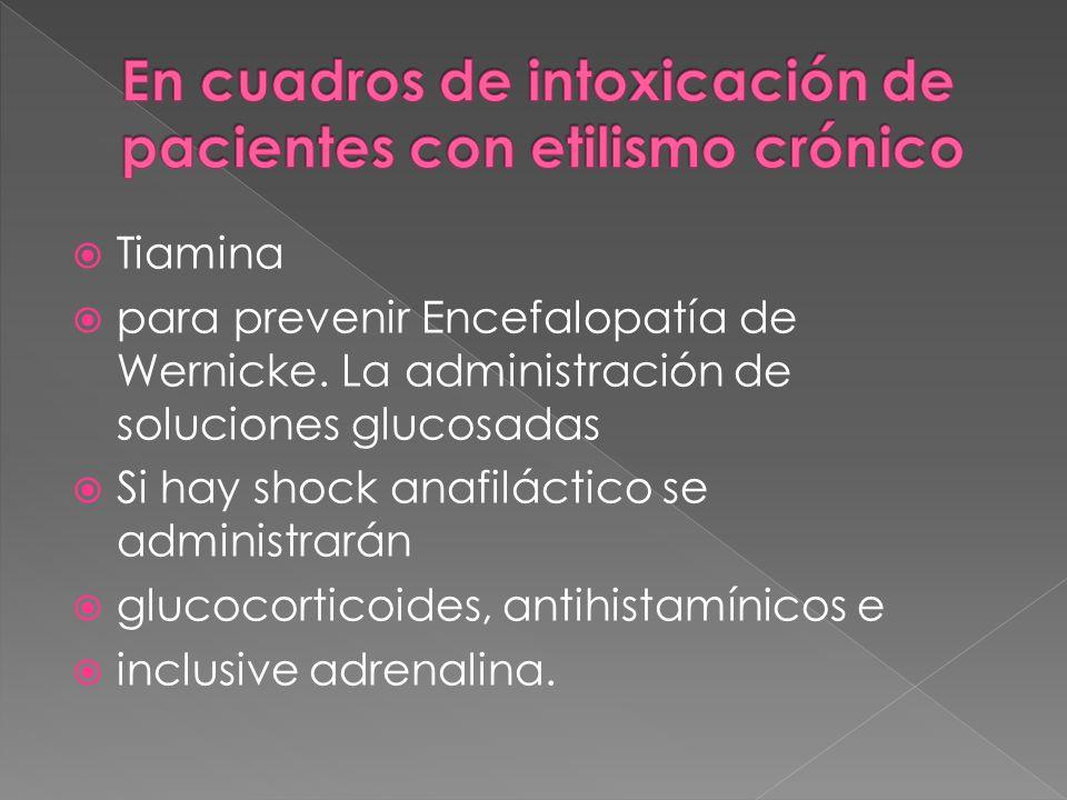 En cuadros de intoxicación de pacientes con etilismo crónico