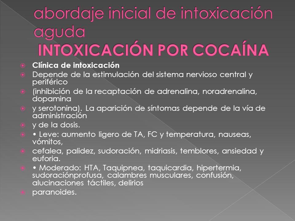 abordaje inicial de intoxicación aguda INTOXICACIÓN POR COCAÍNA