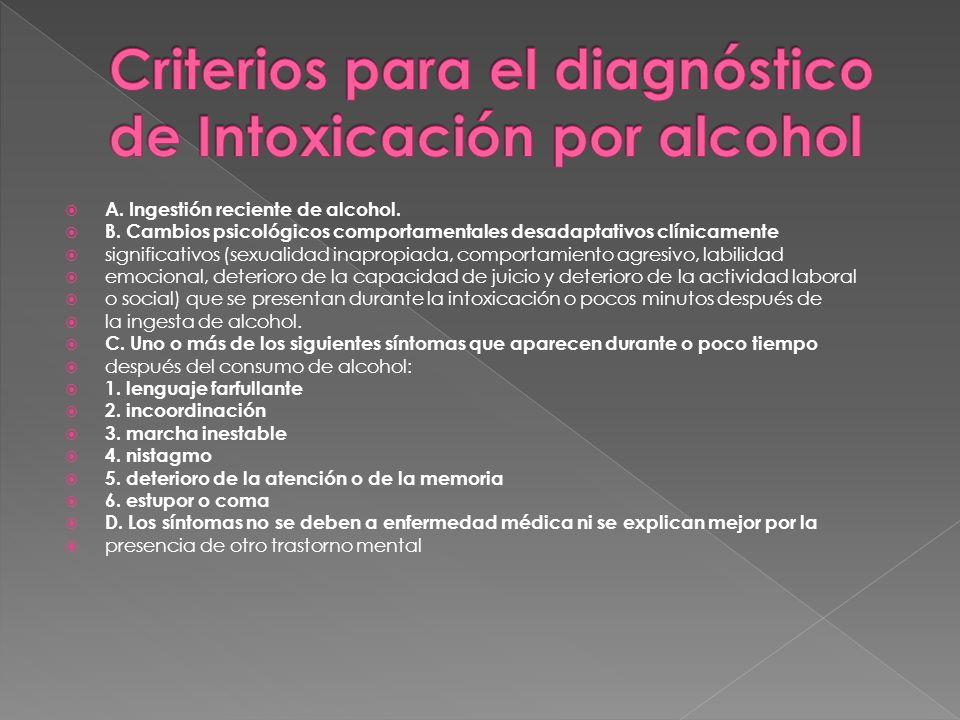 Criterios para el diagnóstico de Intoxicación por alcohol