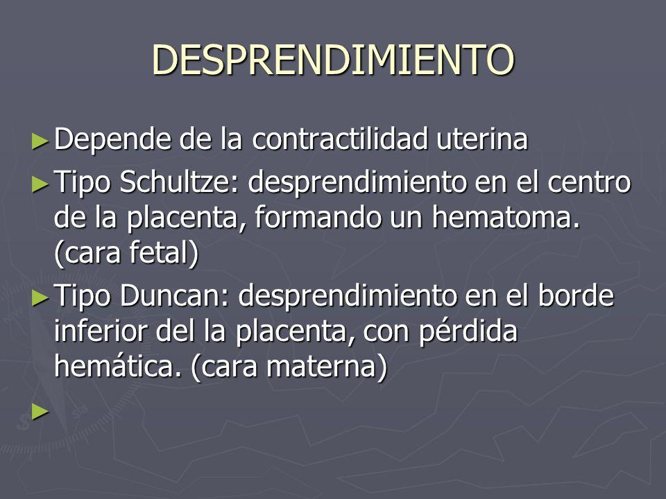 DESPRENDIMIENTO Depende de la contractilidad uterina