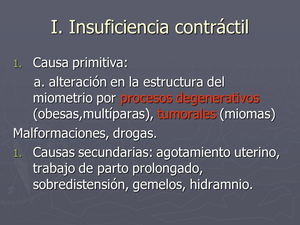 I. Insuficiencia contráctil