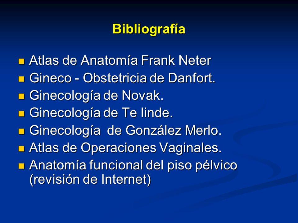 Bibliografía Atlas de Anatomía Frank Neter. Gineco - Obstetricia de Danfort. Ginecología de Novak.