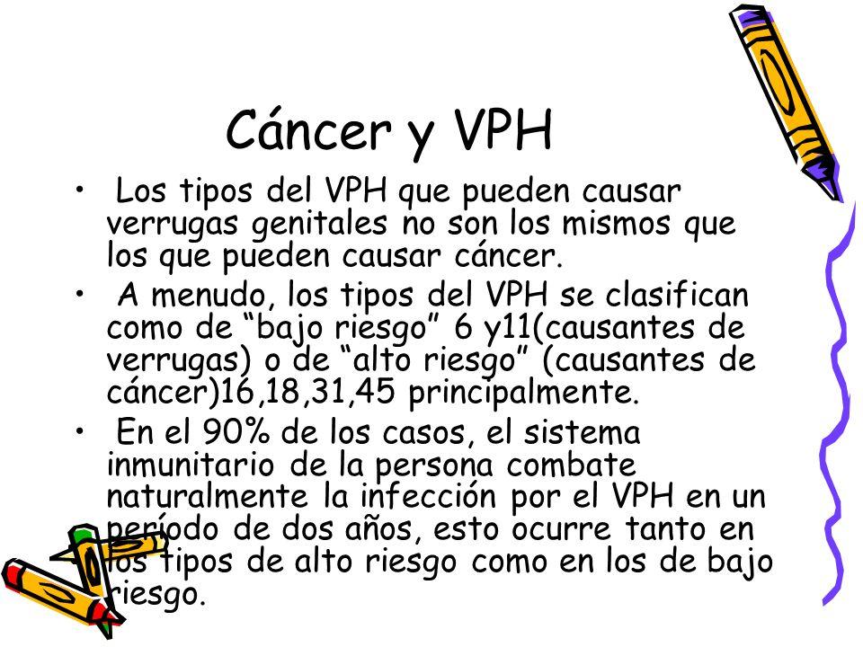 Cáncer y VPH Los tipos del VPH que pueden causar verrugas genitales no son los mismos que los que pueden causar cáncer.