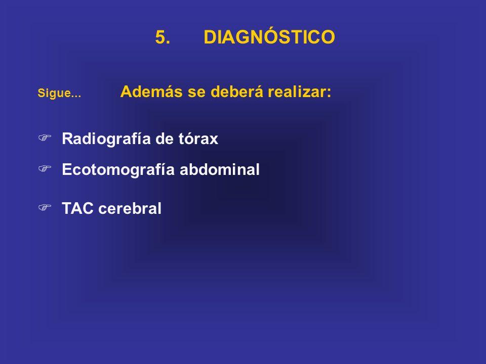 5. DIAGNÓSTICO Radiografía de tórax Ecotomografía abdominal