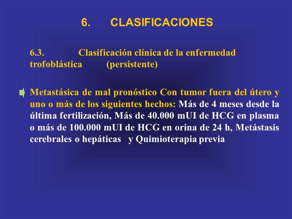 6. CLASIFICACIONES. 6.3. Clasificación clínica de la enfermedad trofoblástica (persistente)