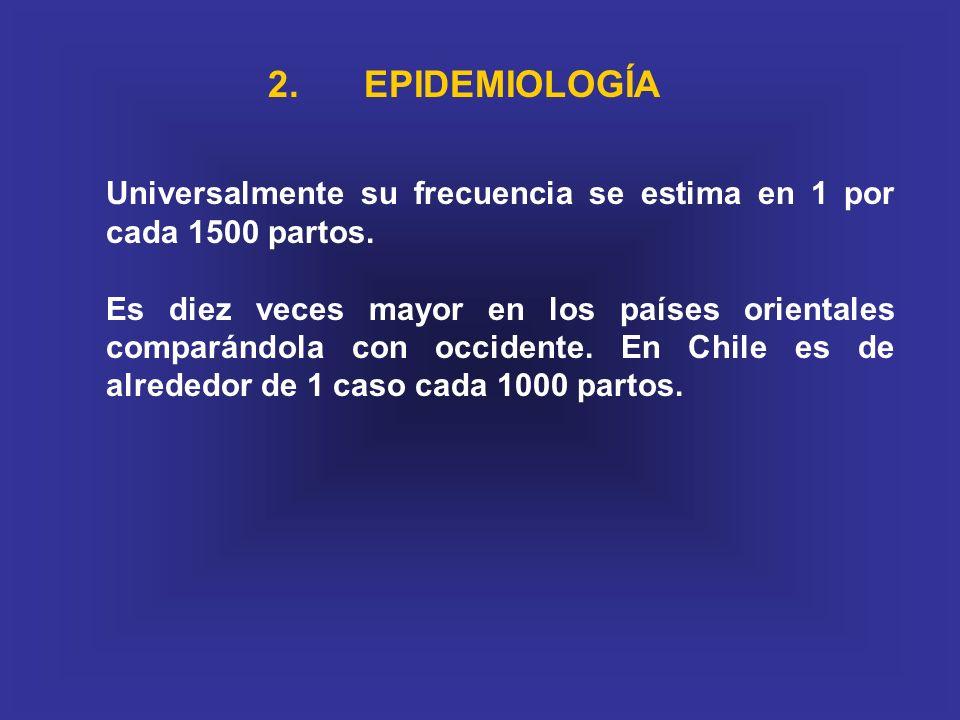 2. EPIDEMIOLOGÍA Universalmente su frecuencia se estima en 1 por cada 1500 partos.