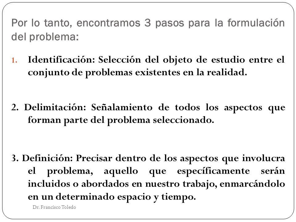 Por lo tanto, encontramos 3 pasos para la formulación del problema: