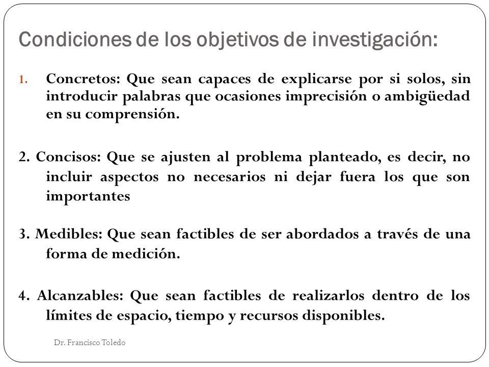 Condiciones de los objetivos de investigación: