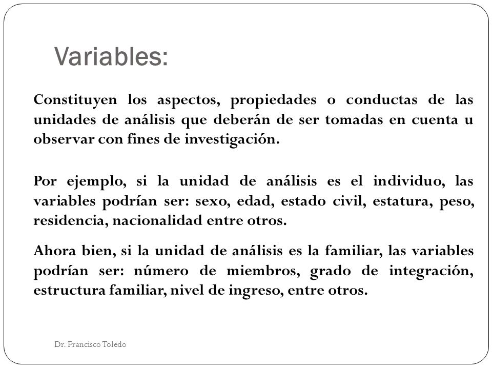Variables: