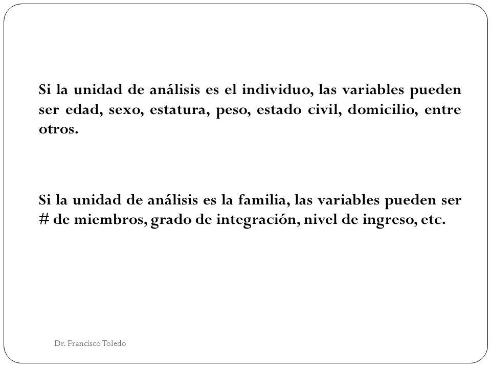 Si la unidad de análisis es el individuo, las variables pueden ser edad, sexo, estatura, peso, estado civil, domicilio, entre otros. Si la unidad de análisis es la familia, las variables pueden ser # de miembros, grado de integración, nivel de ingreso, etc.
