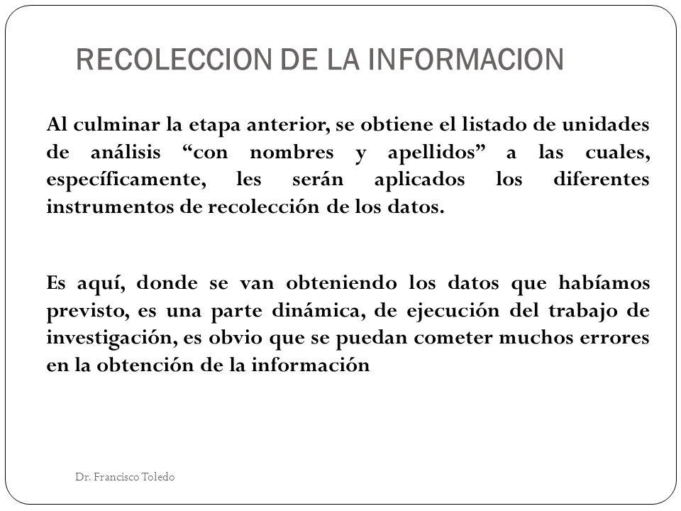 RECOLECCION DE LA INFORMACION