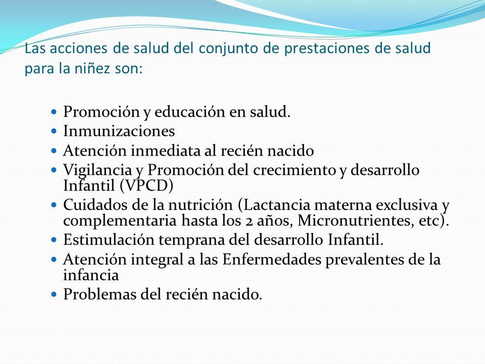 Las acciones de salud del conjunto de prestaciones de salud para la niñez son: