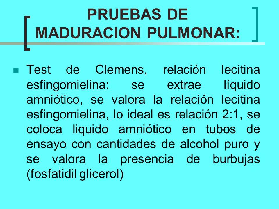 PRUEBAS DE MADURACION PULMONAR:
