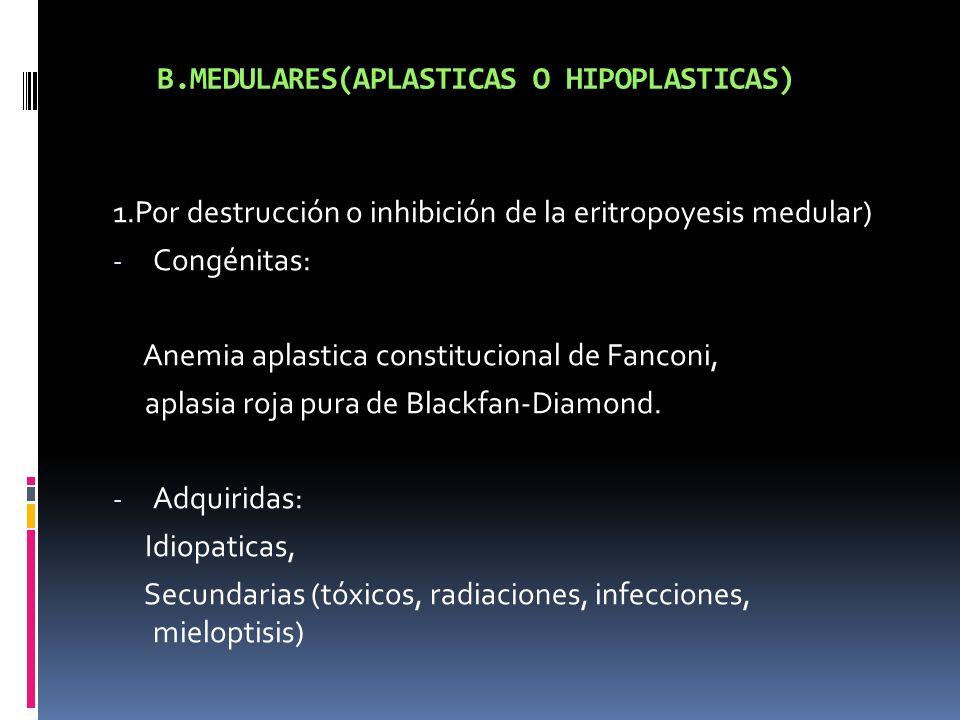B.MEDULARES(APLASTICAS O HIPOPLASTICAS)