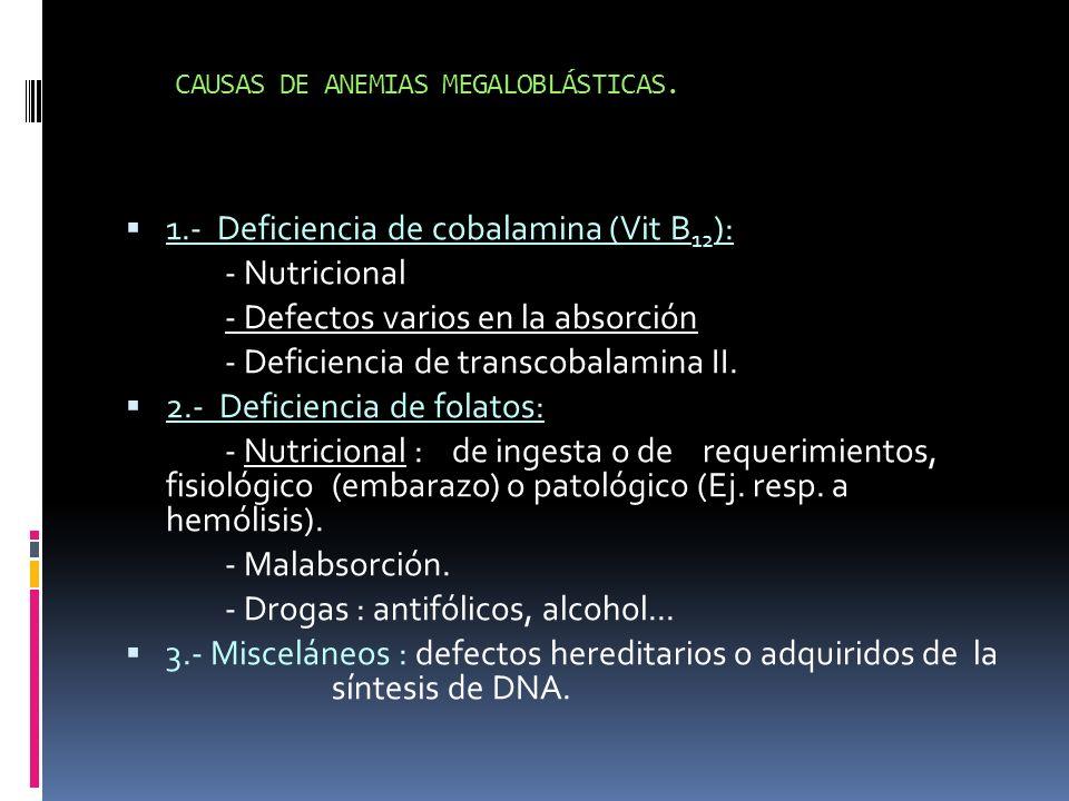 CAUSAS DE ANEMIAS MEGALOBLÁSTICAS.