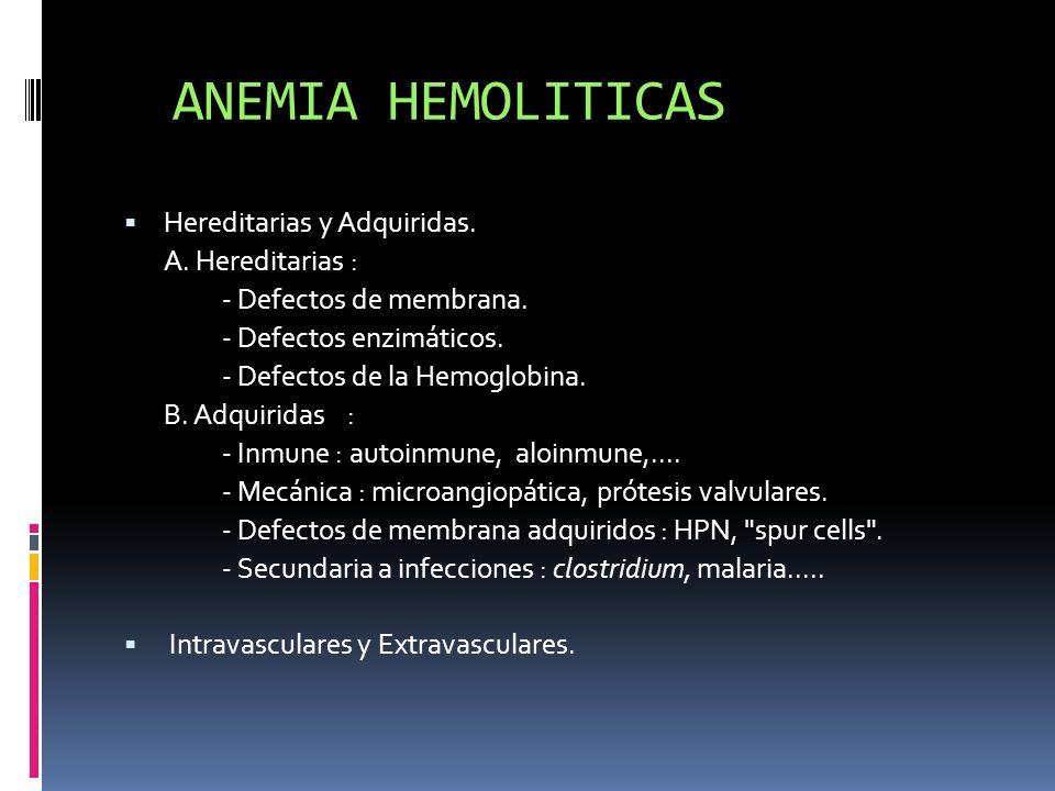 ANEMIA HEMOLITICAS Hereditarias y Adquiridas. A. Hereditarias :