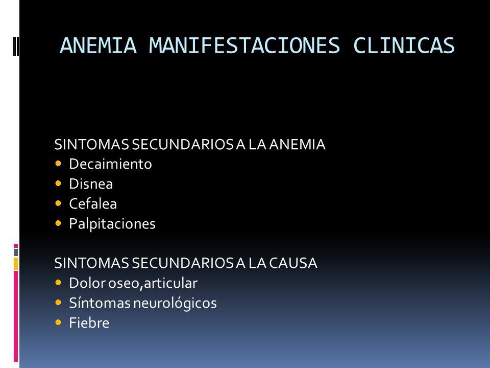 ANEMIA MANIFESTACIONES CLINICAS